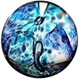 Caithness Glass Swirly Whirly Azul Pisapapeles 75mm (ht) x 80mm