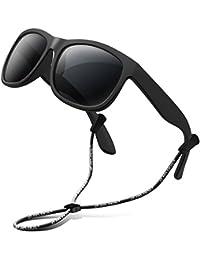 RIVBOS RBK123 Mode Unisex UV400 Protection Lunettes de Soleil Enfant  Polarisé Monture en Caoutchouc Flexible pour 926f0ba86c4f