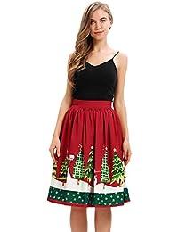 MIRRAY Damen Mädchen Röcke Reich Weihnachten Lustige Nette Mode Gedruckt Elastische Hohe Taille A-Line Plissee Cosplay Ballkleid Party Rock