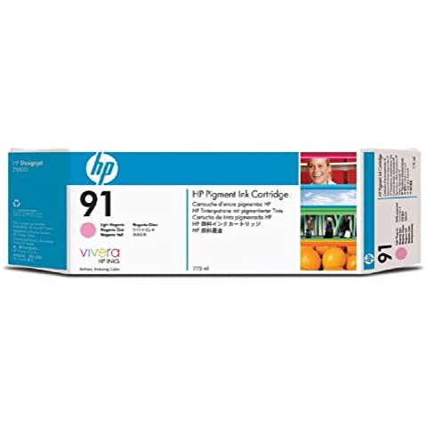 HP Cartucho de tinta magenta clara de pigmento HP 91 de 775 ml. 91 Ink Cartridges, de 15 a 35 °C, 1.09 kg (2.4