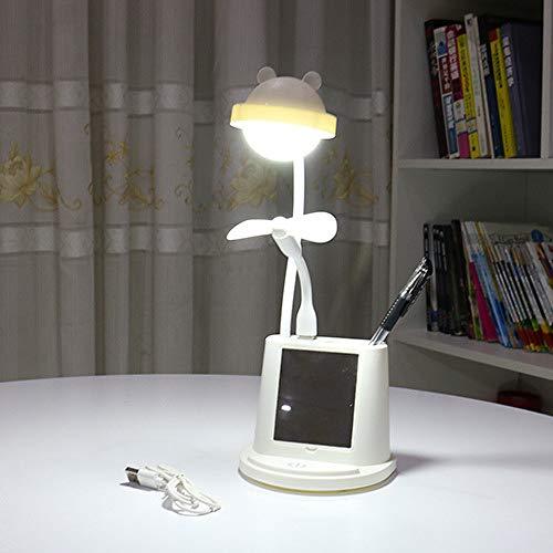 Charge USB charge tactile économie d'énergie lampe de table oeil apprentissage ventilateur lampe de bureau LED ours blanc