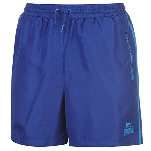 Lonsdale Herren 2 Streifen Gewebte Shorts Training Kurze Hose Kordelzug Blau/Hellblau L