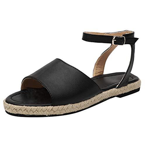 ♥ Loveso♥ Damen Sommer Römersandalen Sandalen Stilvoll Flache Schuhe Ankle Sandalen für Kleid und Hosen mit Buckle Strap -