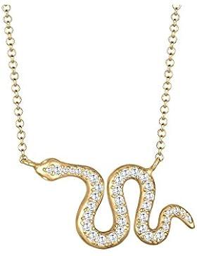 Elli Damen-Kette mit Anhänger Schlange 925 Silber Zirkonia gold Brillantschliff 45 cm - 0104811817_45