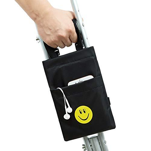iGuerburn Krückentasche / -beutel mit zwei Smiley Taschen - Universelles wasserdichtes Krücken Zubehör für Erwachsene oder Jugendliche in Schwarz. Tasche für Gehhilfen.