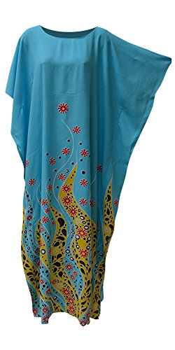 CORAL Ozean Blume lila blauen Kaftan Kaftan weichen Long Beach Bademode Kleid Damen Frauen Robe Plus marokkanischen Cool Kaftan (Freesize Fits UK 8 to 34, Blue) (Coral-robe)