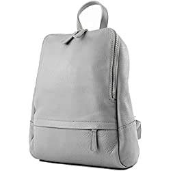 modamoda de - ital Damenrucksack bolsa de cuero T138, Color:gris
