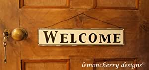 Large Metal Shabby Chic Cream Welcome Sign