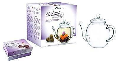 Mix de fleurs de thé Creano - Coffret cadeau- « Floraison » -avec théière en verre | Thé noir 6 thés fleuris en (3 sortes différentes de roses de thé)