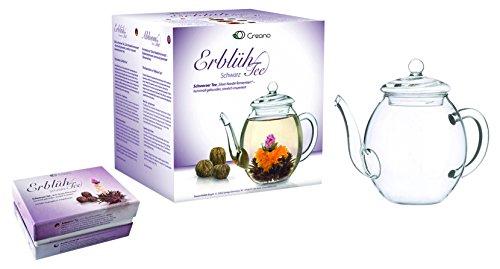 Mix de fleurs de thé Creano - Coffret cadeau- « Floraison » -avec théière  en verre   Thé noir 6 thés fleuris en (3 sortes différentes de roses de thé) 3dd0a499aa9