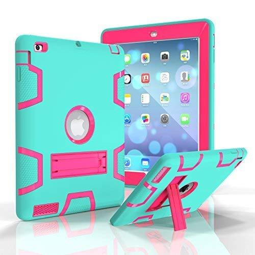 Beimu iPad 2/3/4Fall, Ständer Funktion [Tire Serie] Rugged Shock absorbierenden Drei Schicht Hard Gummi Schutz Case Cover mit Stylus für Apple iPad 2./3./4. Generation, 9.7 inch, Aqua+Rose