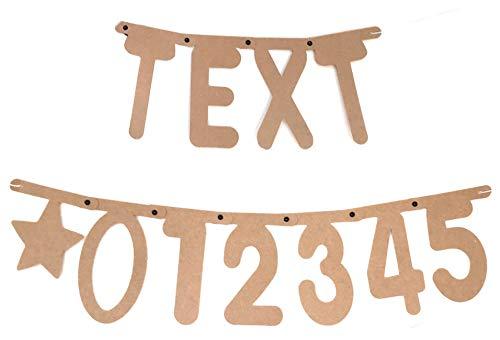 DIY Banner Girlande Buchstabenkette Freitext 120 Buchstaben + Zahlen, individuell Gestaltbar für Geburtstag Party Feier Jubiläum Willkommen in Farbe Natur
