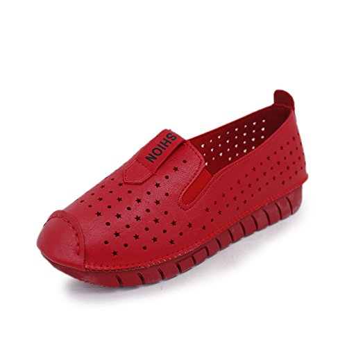 XY&GKWomen's and Lazy's Schuhe Frauen flach Atmungsaktiv Rutschfeste Mutterschaft weichen Sohlen Schuhe Halbschuhe 37 red