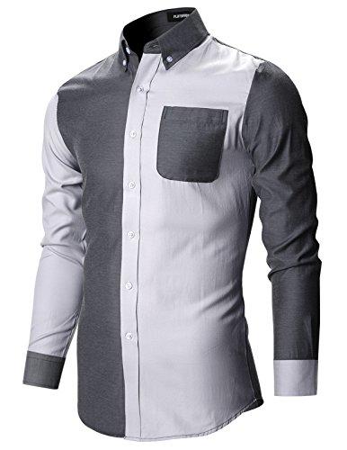 FLATSEVEN Chemise Slim Fit Casual Premium Homme SH174 Gris