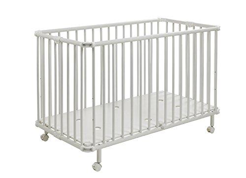Geuther - Kinderbett Mayla, TÜV geprüft, klappbar, höhenverstellbar, Rollen mit Bremse, 60 x 120 cm, weiß -