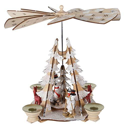 OBC Weihnachtspyramide/Schneemänner und Rehe Natur-weiß/Pyramide Weihnachten/im Erzgebirge Stil, handgefertigt/Deko zu Weihnachten Natur Rehe