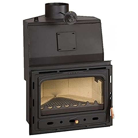 Wood burning fireplace insert Prity, Model AC W20, Heat output 25kW, Boiler, Angled, Cast iron door