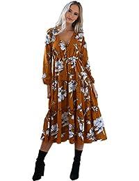 Reaso Femme Robe Manche Longue Col V Fleurie imprimé Chic Robe de Cocktail Retro Longue Maxi Dress Eté Vintage Elegant Robe de Plage