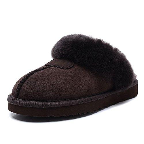 Mesdames intérieur chaud chaussures réparation Mouton Chaussons en fausse fourrure 4