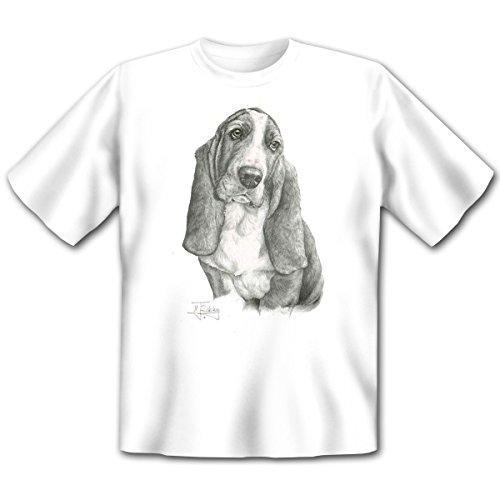 Tierische Geschenkidee für den Hundefreund! Bedrucktes Shirt mit dem Motiv: Basset T-Shirt Farbe: Weiss Weiß