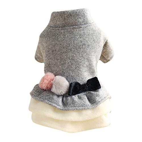 Bow Dress Hundemantel Hund Kleidung, Hawkimin Pet Puppy Katze Niedlicher Warm Coat Pullover Winter Mantel Jacke Warme Kleidung Kleine Mittlere Große Warmer Bekleidung Hunde Kleid Hundekleid
