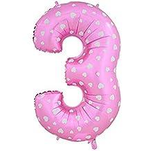 """30"""" fiesta de la boda del globo del cumpleaños número lámina de helio 0-9 (3, Pink)"""