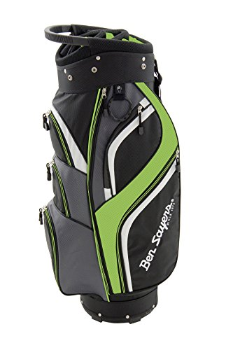 Ben Sayers Men's 14 Way Deluxe Cart Bag – Black/Lime Green