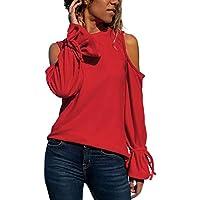 LILICAT✈ 2019 Bolsillo Suelto de Manga Larga, Cuello Redondo, Color a Juego, Remache de Lana, Camiseta Mujer Casual Bolsos con Cuello en u Empalme Sudor Camiseta Informal Blusas Top