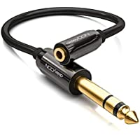 deleyCON 0,2m Cable Jack Adaptador de Audio Estéreo - Cable Jack de 6,3mm a Cable de Vídeo Jack de 3,5mm - Conector & Cable de Vídeo - Negro