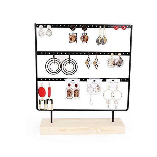 ZhiWei Ohrringe Organizer Schmuckständer Holzständer Ohrstecker-Halter Ohrring-Ohrring-Halter-Standplatz dekorative Schmuckständer Display Rack (69 Löcher 3 Ebenen) (Schwarz) -