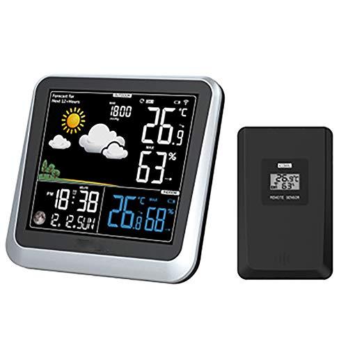 CRZJ Funkwetterstation, Indoor-Outdoor-Thermometer mit Sensor, großer vertikaler LCD-Bildschirm, schwarz