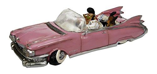 A.B. Gee The Comical World - Statuetta decorativa in resina con Caricatura, Elvis sulla Cadillac
