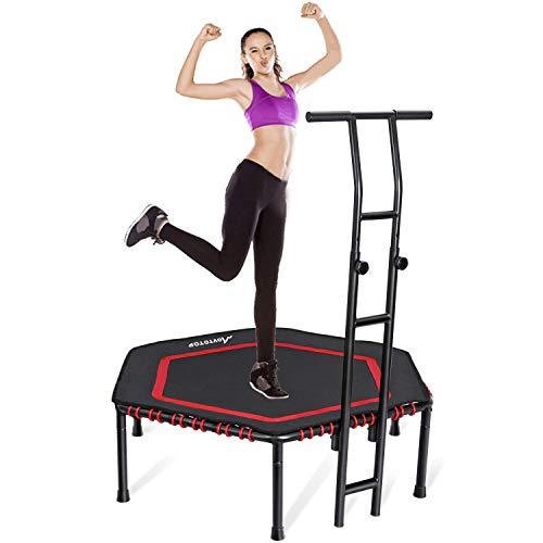 MOVTOTOP Fitness-Trampolin mit haltegriff, Ø122cm Trampolin für Jumping Fitness Cardio Workouts und Körpertraining, Trampolin Indoor Kinder und Erwachsene Bs120kg
