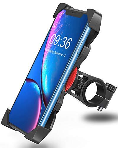"Bovon Soporte Movil Bicicleta, Anti Vibración Soporte Movil Bici Montaña con 360° Rotación para Moto Cochecito, Universal Manillar para iPhone X XS Max XR 8 Plus 7 6s Samsung y 3.5\""-6.5\"" Smartphones"