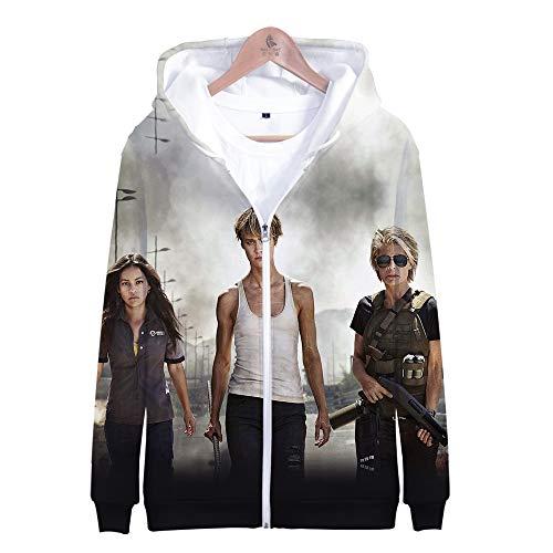 Mädchen Terminator Kostüm - RJHWY 3D Hoodie Sweatshirt Unisex Pullover Kapuzenjacke Kleidung Mantel Reißverschluss Anime Top Terminator Dark Fate S