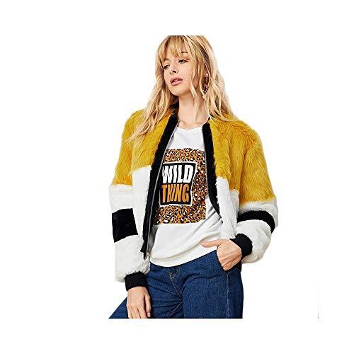 GUQI Damen Jacke Mehrfarbige Elegante Arbeitskleidung Schnitt Und Nähen Kunstpelz Colorblock Zip Up...