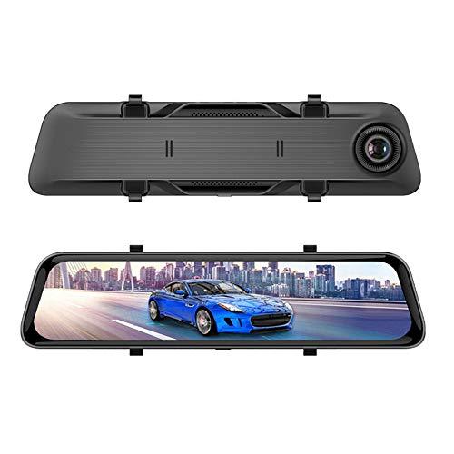 HLDUYIN Autospiegel Dash Cam, Rückfahrkamera, 12-Zoll-IPS-Touchscreen, 1080-Pixel-Auflösung Vorne Und Doppelobjektiv Für Die Rückansicht, Inklusive 32-G-TF-Karte