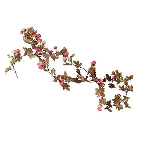 Gazechimp Lot de 2pcs Fleur Artificielle Suspendue Rose Vine Décoration Mur Rampe Maison Jardin - Rose