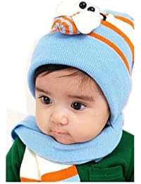 0utdoortips Hot Baby Cap Toddler Cute Ladybug Hat And Scarf Set 8 Months-3 Years (Blue)