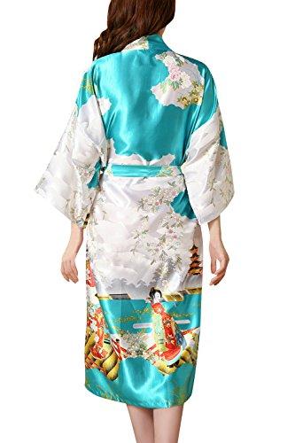 Dolamen Kimono Robe Femmes, Femmes Chemises de nuit Geisha et fleurs, Robe peignoir en satin de soie Robe de nuit de demoiselle d'honneur pyjamas, 2017 Nouveau style Lac bleu