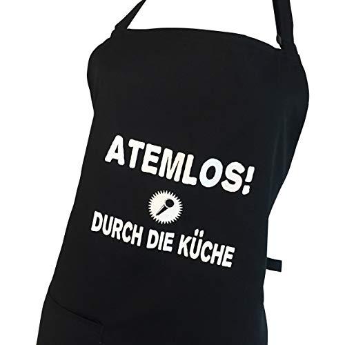 Kochschürze schwarz mit verstellbaren Nackenband und Tasche, hochwertige Schürze zum Grillen und Kochen (Atemlos durch die Küche)