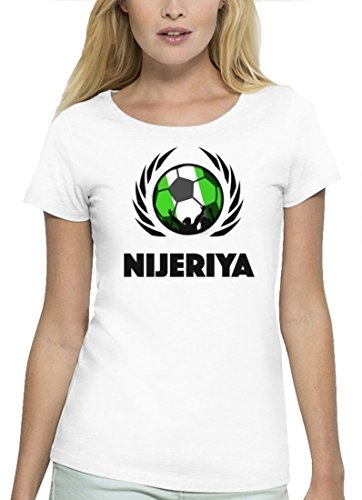 ShirtStreet Nijeriya Fussball WM Premium Fanfest Damen T-Shirt Bio Baumwolle Stanley Stella Fußball Nigeria White