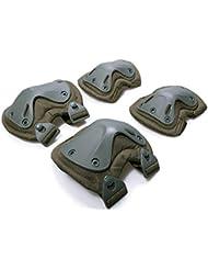 Airsoft táctico ajustable de la rodilla del codo almohadillas protectoras Conjunto de protección de engranajes Deportes Caza de ratón Shooting Ejercito verde