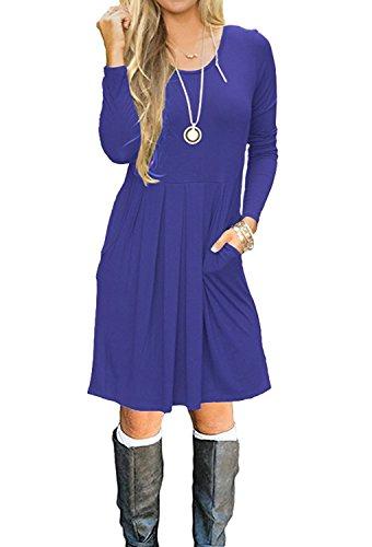 Minetom Donna Vestito Abito Moda Rotondo Collo Beach Vestiti Casuale T Shirt Swing A Line Primavera Estate Mini Dress Con Tasche A Blu