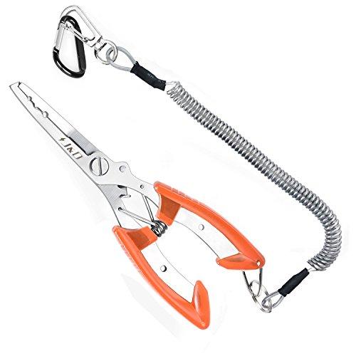 Alicates multifuncionales para pesca de J&D, de acero inoxidable y ligeras, con gancho para atar a los pantalones y cordón de seguridad en espiral., naranja