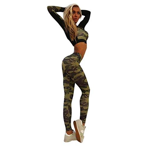 Bekleidung Longra Damen Yoga Trainingsanzug Camouflage Stitching Sweatshirt Sets Sport Wear Anzug Hosen (Asian M (Tops), Camouflage) -