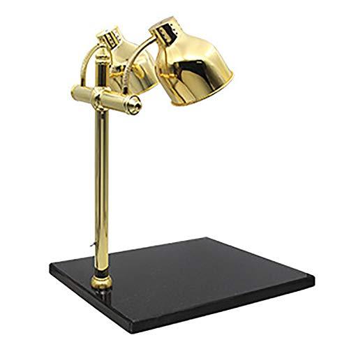 Schwarz-gold-buffet-lampe (JLNHSDR Doppelkopf-Wärmelampe - Speisenwärmerlampe mit Marmorsockel - 250 W Hochleistungs-Infrarotlampe, geeignet für Küche, Restaurant, gegrilltes Fleisch,Gold,BlackMarble)