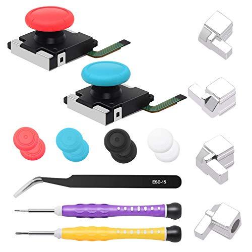 FYOUNG 3D Analog Joystick Reparatur Kit für Nintendo Switch Joy Con, Enthalten Thumb Stick + Metall Verschluss Schnalle + Schraubendreher Werkzeuge + Thumbstick-Kappen für Switch Joncon, Blue&Red
