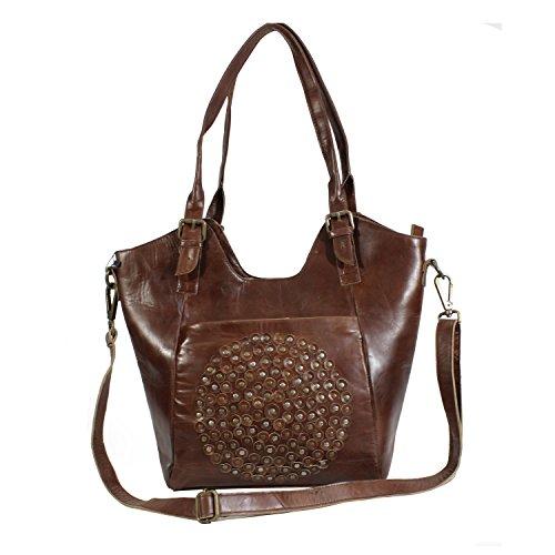 323e2d6fa6604 Leder Schultertaschen Damen Taschen- 100% Leder Damentasche Handtasche  Schultertasche Umhängetasche Cognac