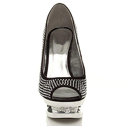 Femmes talon haut strass soirée chaussures ouvert plateforme sandales pointure Noir